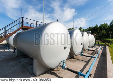 Tanks For Storing Crude Oil At An Oil Well Site.