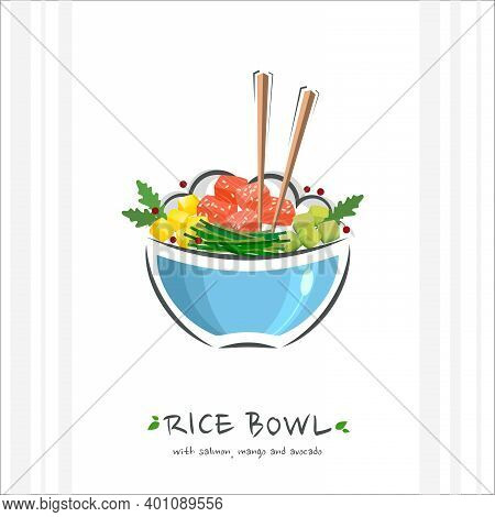 Rice Bowl With Tuna, Salmon, Mango And Avocado. Healthy Food Design Template. Illustration With Chop