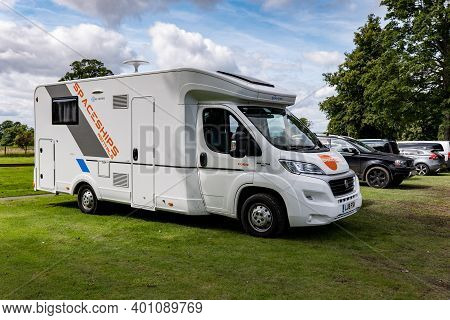 Perth, Scotland - August 12, 2019: Fiat Ducato Sun Living S70sc Caravan Of Spaceship Rentals Parked