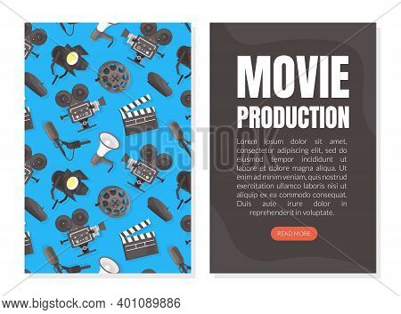 Movie Production Landing Page Template, Cinematography And Filmmaking Mobile App, Website Interface
