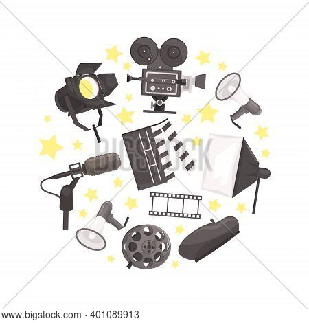 Cinema, Film Production, Cinematography Industry Attributes Of Circular Shape Flat Vector Illustrati