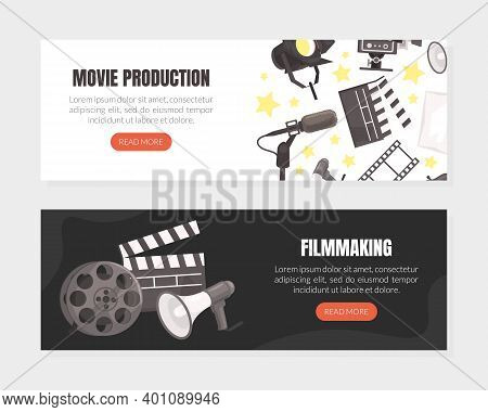 Movie Production Landing Page Templates Set, Cinematography, Filmmaking Website Interface Flat Vecto