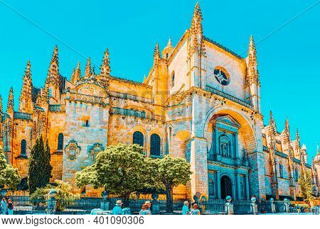 Landscape Of The Cathedral Of Segovia, And Main Square (plaza Ma