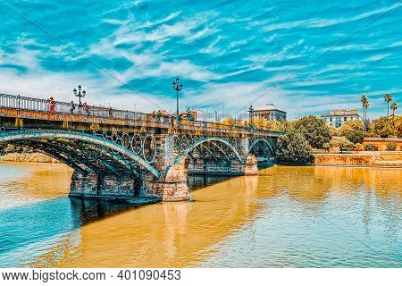 Bridge Of Isabel Ii, Bridge Of Triana - On River  Guadalquivir ,