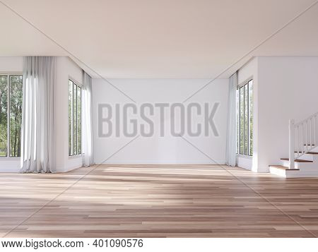 Modern Style Empty House Interior With Blank White Wall 3d Render,there Are White Paint Walls,wooden