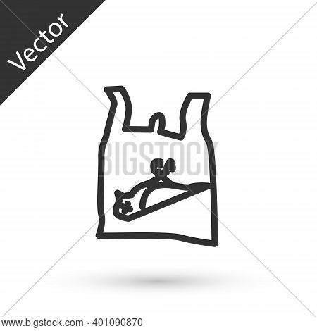 Grey Line Dead Bird, Plastic Icon Isolated On White Background. Element Of Pollution Problems Sign.