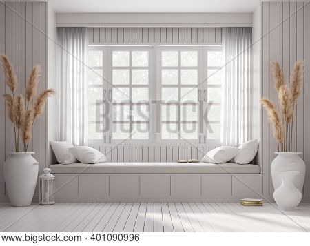 Vintage Style Window Seat 3d Render.there Are White Wood Plank Wall And Floor Decorated With Big Whi