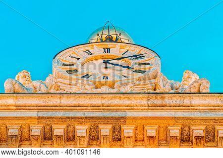 Big Clock On Building Bank Of Spain (banco De Espana) On Cibeles