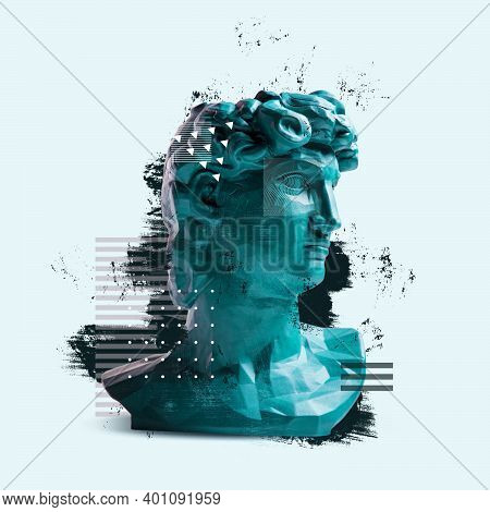 Contemporary Art Collage With Antique Statue Bust In A Surreal Style.