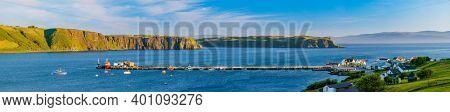 Panorama Of Beautiful Isle of Skye, Scotland, United Kingdom.Idrigill a small crofting village, on the coast of Uig Bay, Portree, Isle of Skye, Scottish Highlands