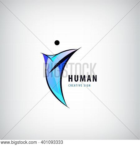 Vector Abstract Man Logo. Positive, Healhy Lifestyle, Wavy Human 3d Icon. People Shape Colorful Styl