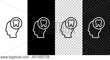 Set Line Human Head With Tooth Icon Isolated On Black And White Background. Tooth Symbol For Dentist