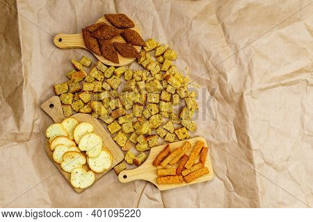 Pieces White And Brown Bread Delicious Croutons. Bread Background