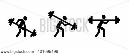 Weightlifter With A Barbell. Fitness And Bodybuilding. Silhouette Logo Sign. Vector Illustration. Hu