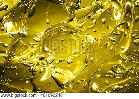Yellow Water Gel Background. Abstract Round Bubble Shapes Fizzy Liquid Pattern. Water Fluid Yellow T