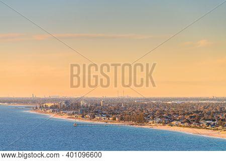 Brighton Beach With Jetty Aerial View, South Australia