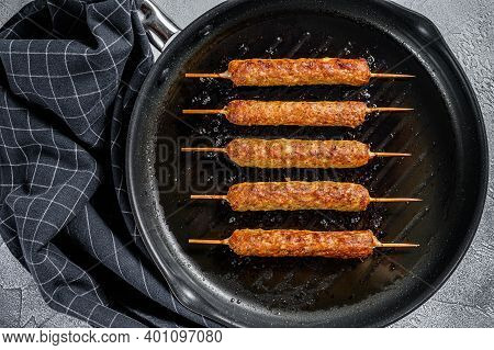 Shish Kebab On A Stick, From Ground Beef Meat. Lula Kebab. White Background. Top View