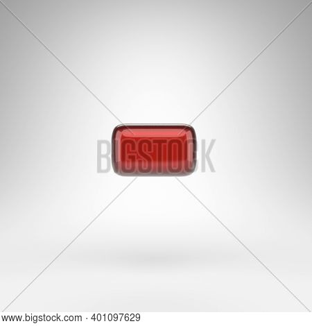 Minus Symbol On White Background. Red Car Paint 3d Rendered Sign With Glossy Metallic Surface.