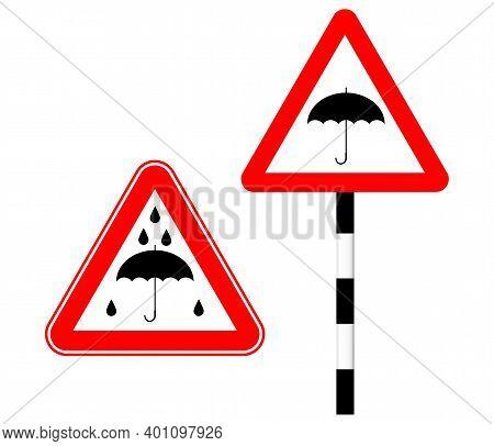 Caution Rain Slippery Road. Silhouette Logo Sign. Vector Illustration. Humor. Road Sign Umbrella In
