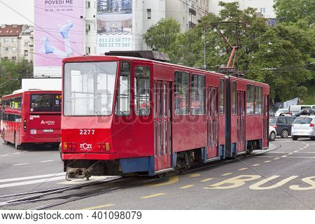Belgrade, Serbia - May 24 2019: Red Tramway Of The Line 2l In The City Center.