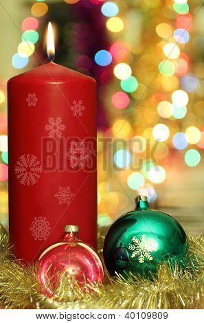 Red Candle And Christmas Decoration