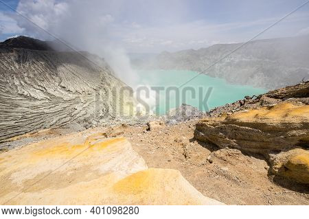 Ijen Volcano With Turquoise-coloured Acidic Crater Lake In East Java, Indonesia
