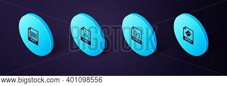Set Isometric Msg File Document, Mp4, Obj And Txt Icon. Vector