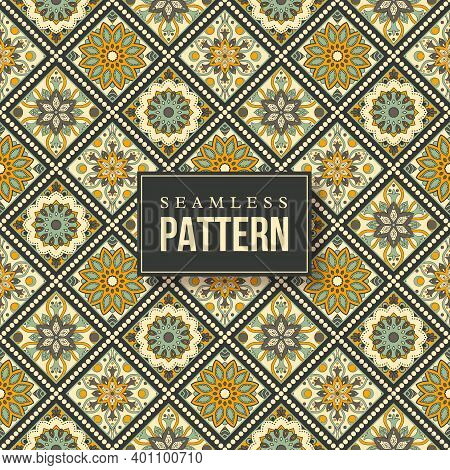 Seamless Hand Drawn Mandala Pattern. Vintage Elements In Oriental Style. Texture For Wallpapers, Bac