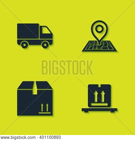 Set Delivery Cargo Truck Vehicle, Cardboard Boxes On Pallet, With Traffic And Placeholder Map Icon.