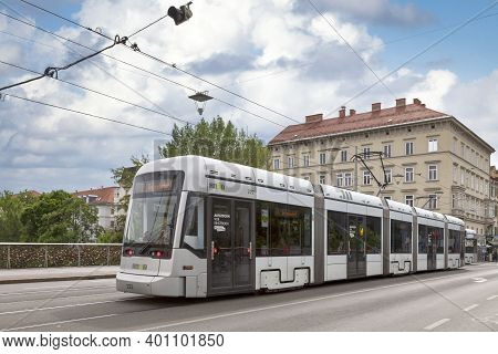 Graz, Austria - May 28 2019: Tramway Of The Line 7 In The City Center.