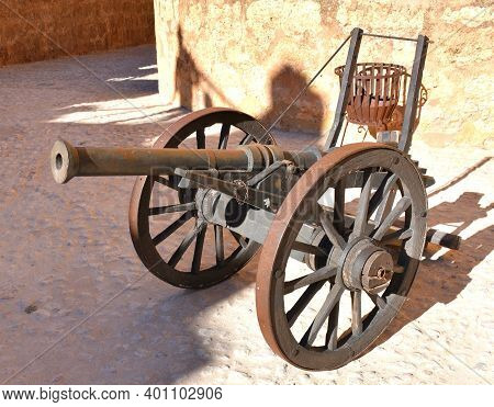 Artillery Cannon From Medieval Times Inside The Castle Of Belmonte.