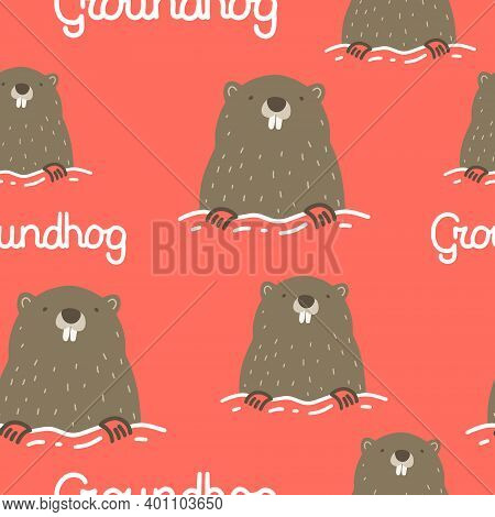 Seamless Pattern On The Theme Of Groundhog Day On February 2. Decorated With A Lettering And Groundh
