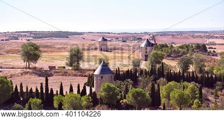 Landscape Of Three Windmills In The Town Of Belmonte. View From Its Castle.