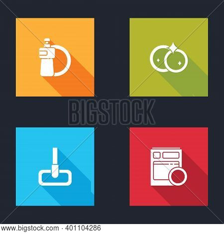 Set Dishwashing Liquid Bottle And Plate, Washing Dishes, Mop And Kitchen Dishwasher Machine Icon. Ve