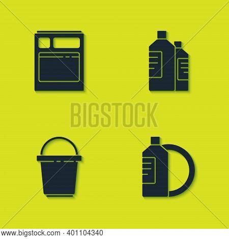 Set Kitchen Dishwasher Machine, Dishwashing Liquid Bottle And Plate, Bucket And Bottles For Cleaning