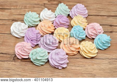 A Variety Of Pastel Color Meringues On A Table