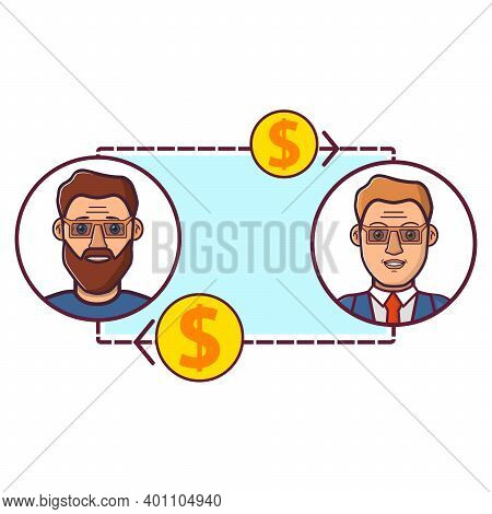 B2b Isolated On White Background.business-to-business. Vector Flat Illustration.negotiation Of Two P