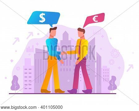 Successful Business Deal. Business Negotiations B2b. City Silhouette.