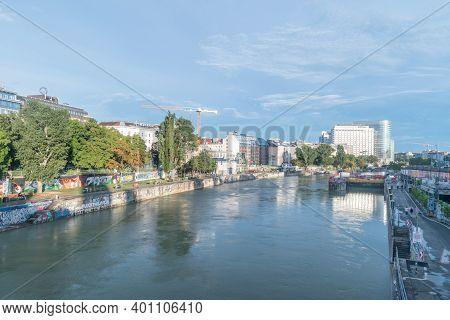 Vienna, Austria - August 30, 2020: Donaukanal At Summer Time. Danube Canal In City Center Of Vienna.