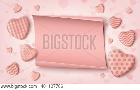 Blank Background Template With Pink Realistic Candy Hearts And Realistic Papper Banner.