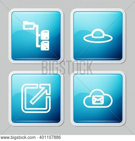 Set Line Folder Tree, Ufo Flying Spaceship, Open New Window And Cloud Mail Server Icon. Vector