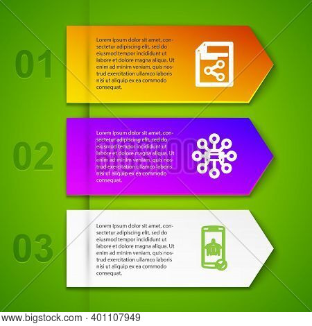 Set Line Share File, Car Sharing, Flight Mode The Mobile And . Business Infographic Template. Vector
