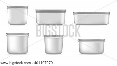 White Bucket Mockups For Ice Cream, Yogurt, Cheese. Empty Transparent Jar Mockups With Cap Top View