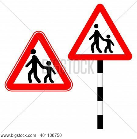 Beware Of A Pedestrian With A Child. Silhouette Logo Sign. Vector Illustration. Humor. Road Sign In