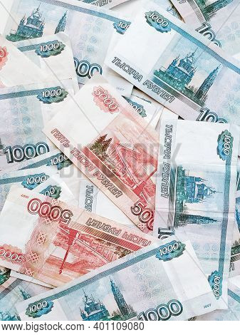 Russian Rubles Of Categories One Thousand And Five Thousand Mixed, Top View.