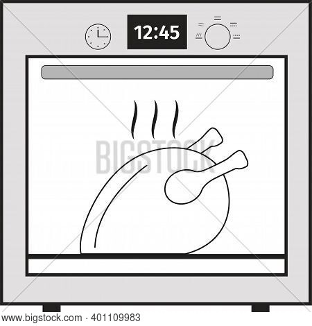 Oven Icon. Vector Oven On A White Background.oven With Chicken.