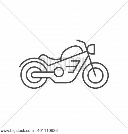 Cruiser Motorcycle Line Outline Icon Isolated On White. Vector Illustration