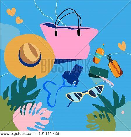 Summer Vacation Beauty Set. Women's Handbag,sun Glasses,straw Hat,suntan Oil And Sunscreen.abstract