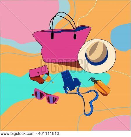 Summer Vacation Beauty Set. Women's Handbag,straw Hat,suntan Oil And Sunscreen, Camera.preparing And