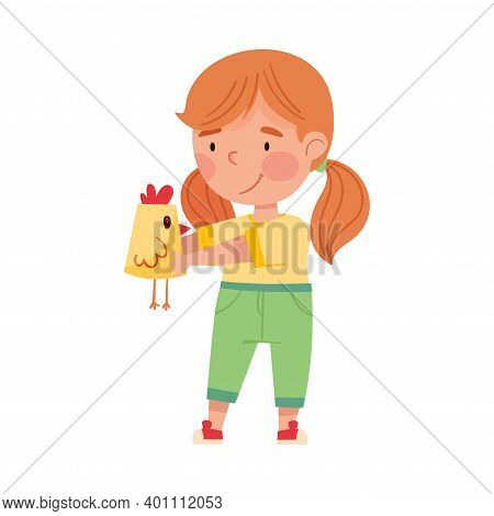 Cute Girl Artist With Handcrafted Paper Chicken Vector Illustration